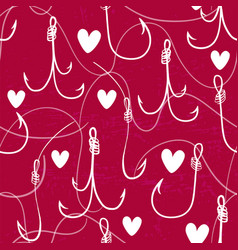 Seamless pattern with fishing hooks ink hand drawn vector