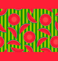 seamless pattern with watermelons on a striped vector image