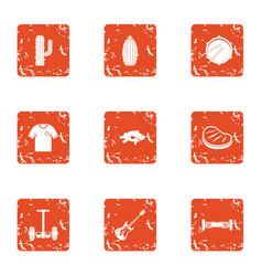 Seedling icons set grunge style vector