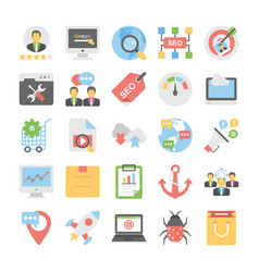 seo and digital marketing colored icons 1 vector image