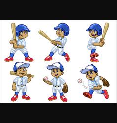 Set cartoon white boy baseball player vector