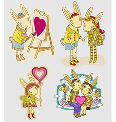 Set funny hare vector