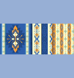 set of ethnic seamless patterns aztec native vector image