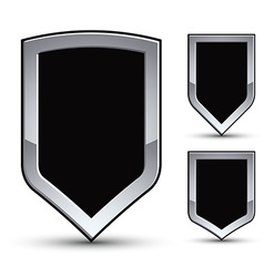 Set of heraldic black emblem with silver outline vector image