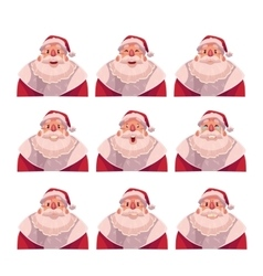 Set of Santa Claus avatars with different emotions vector image