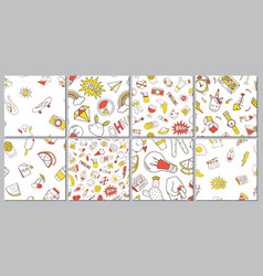 set seamless pattern with patch doodles vector image