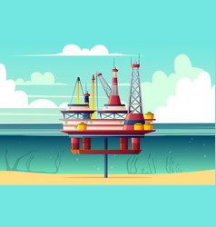 Shelf oil platform cross section cartoon vector