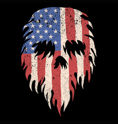 skull usa torn flag vector image