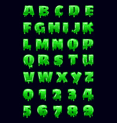 Slime font green bubbling toxic mold letters vector