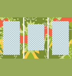 social media stories post creative set tropical vector image