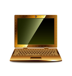 Steampunk laptop isolated on white vector