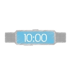 Steel digital smart watch time screen vector