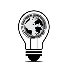 technology future world globe circle light bulb vector image