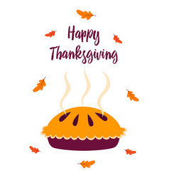 thanksgiving card with pie isolated vector image
