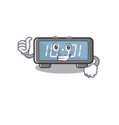 Thumbs up digital clock clings to cartoon wall vector