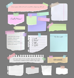 torn paper sheet pieces for notes and scrapbook vector image