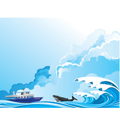Whale watching boat vector