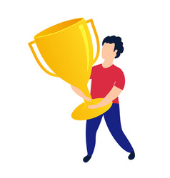 Winner holds goal reward cup success motivating vector