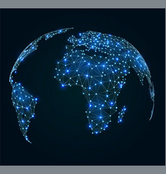world map with shining points network connections vector image