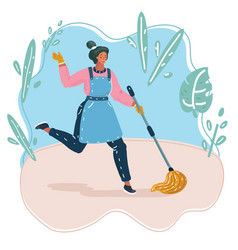 Young beautiful cleaning maid woman vector