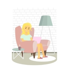 Young woman relaxing on armchair and browsing vector