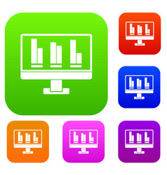 business graph at computer screen set color vector image vector image