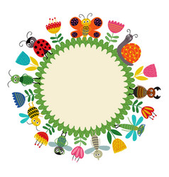 frame with funny insect vector image vector image