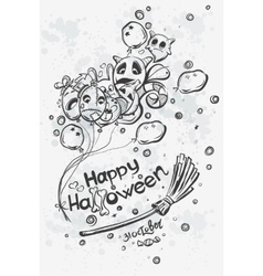 Ghost with balls on broomstick - Halloween doodles vector image