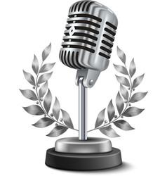 Gold microphone award vector
