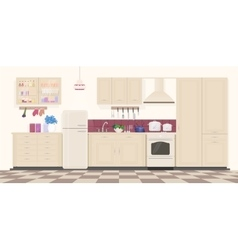 Modern classic vintage kitchen interior with vector image vector image