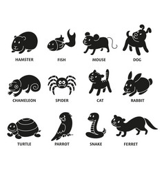 pet shop set silhouette types of pets vector image