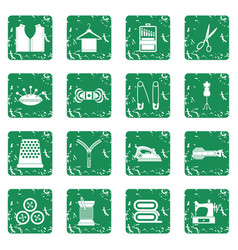 sewing icons set grunge vector image