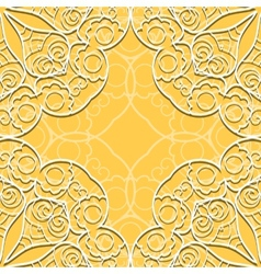 Yellow lace seamless pattern vector image