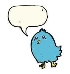 cartoon bluebird with speech bubble vector image vector image