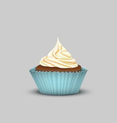 delicious cupcake with cream in the turquoise cup vector image