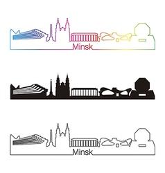Minsk skyline linear style with rainbow vector image
