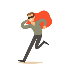thief in a black mask carrying an orange bag vector image