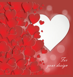 Valentine card with volumetric hearts vector image vector image