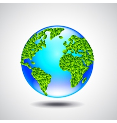 Blue globe earth from small green leaves ecology vector image