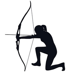 Female archer with bow and arrow vector image vector image