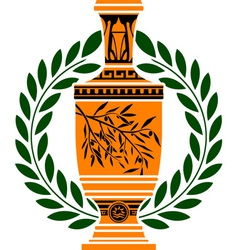 greek vase with laurel wreath vector image