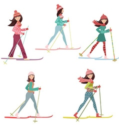 Happy girls on cross country skiing vector