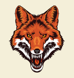 angry fox head vector image