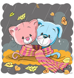 cat and dog in a scarf vector image vector image