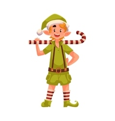 Christmas elf with a candy cane vector image