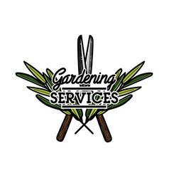 color vintage gardening emblem vector image vector image
