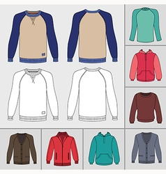 Mens clothing outlined template set vector image