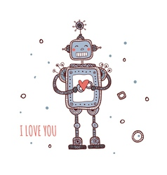 robot with heart i love you vector image vector image