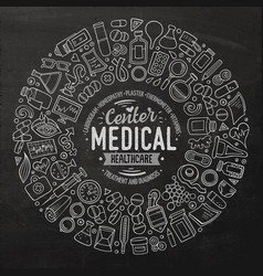 set of medical cartoon doodle objects vector image vector image