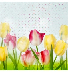 Tulip on polka dot background EPS 10 vector image